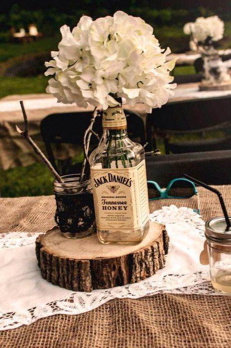 Tennessee honey Jack Daniels hydrangea rustic wedding center piece  -MJD