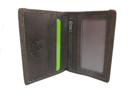 Men/'s small Wallet Slim Thin Genuine Leather Trifold Coins Zipper Cards 41211
