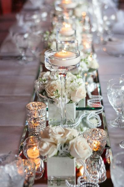 True Reflection 40 Gorgeous Mirrored Wedding Ideas Wedding Candles Wedding Table Wedding Centerpieces
