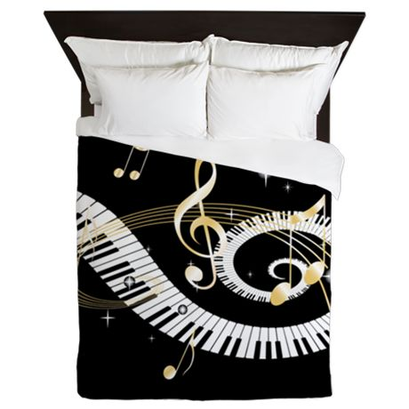 956110496751 Stylish designer piano and music notes Queen Duvet | For Kaitlyn to ...