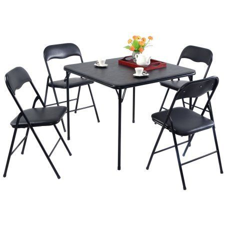 Costway 5 Pieces Black Folding Guest Games Dining Room Kitchen