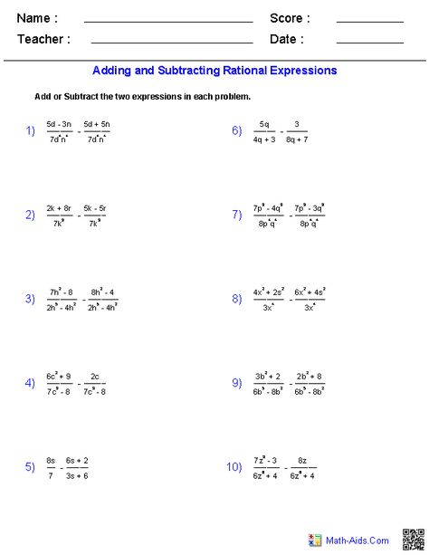 Multiplying and Dividing Rational Expressions Worksheets | Education ...