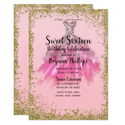 Pretty Pink Gold Glitter Party Dress Sweet 16 Invitation Zazzle Com Glitter Party Dress Gold Glitter Party Glitter Party