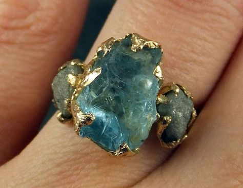 Raw Uncut Aquamarine Diamond Gold Engagement Ring by byAngeline