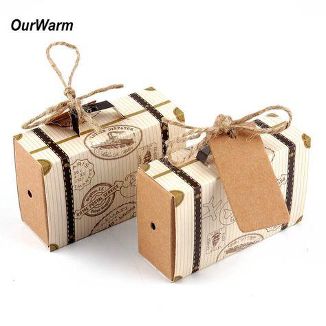 Anniversario Di Matrimonio Viaggio.Online Shop 50 Pz Mini Valigia Kraft Contenitore Di Caramella