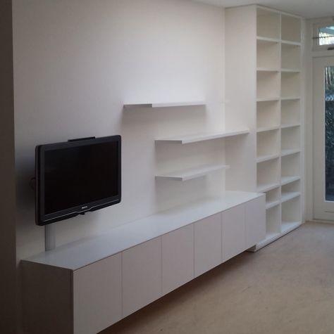 hangend tv meubel in nis met zwevende schappen ideeà n voor het