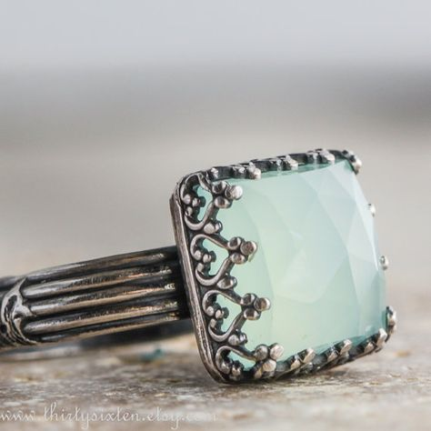 Aqua Chalcedony and Sterling-- Exquisite! I love the look of this ring.