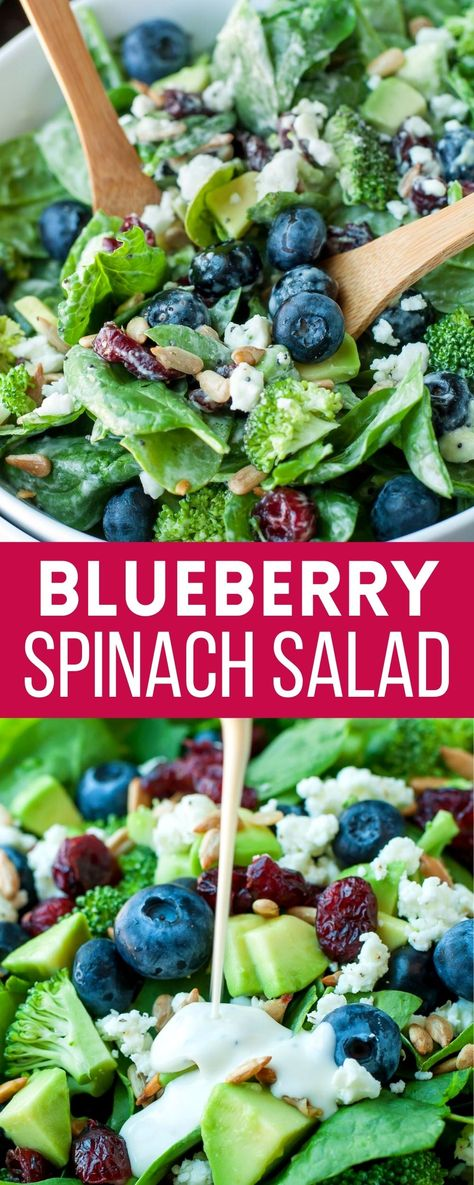 This delicious Blueberry Broccoli Spinach Salad with Poppyseed Ranch is of my favorite salads of all time! Veg it up with all your favorite mix-ins and get ready to face plant! So good!