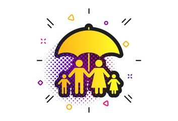 Line Emoji 2020 Halloween Complete family insurance sign icon. Halftone dots pattern