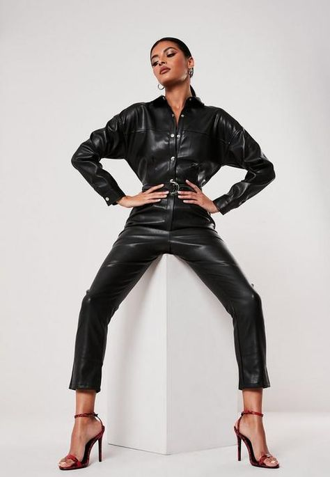 a faux leather collared jumpsuit in a tapered leg style featuring full length popper fastening and pleat detail at the waist. regular fit Ankle Grazer - Sits on the ankle bone polyurethane Raine wears a UK size 8 / EU size 36 / US size 4 and her height is Fashion Model Poses, Fashion Photography Poses, Leather Jumpsuit, Leather Pants, Leder Outfits, Leather Collar, Leggings, Black Models, Black Faux Leather