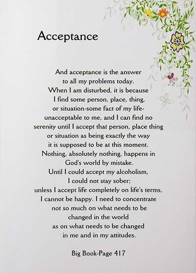 Recovery Greeting Card - Acceptance - Big Book Quote | RecoveryShop