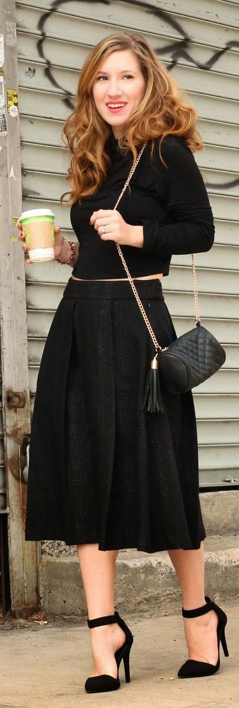 Joe Fresh Black Maxi Pleated Skirt