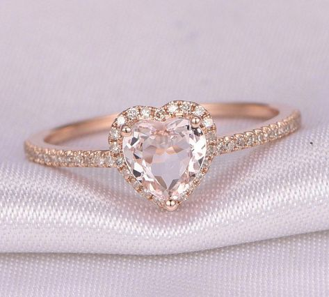 e51b245136e8e 14k Rose Gold Lovely Heart Shaped Morganite Halo by InOurStar
