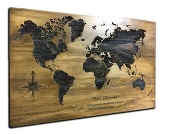 Wood World Map Wall Art Flat Earth Led World Map As Wall Etsy Wood World Map Map Wall Hanging World Map Wall Art