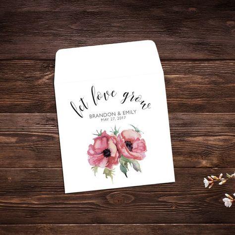 Seed Packet Favors, 25 Let Love Grow Favors, #seedpackets #seedfavors #weddingfavors #weddingseedfavor #weddingseedpackets #seedpacket #weddingfavor #seedfavor #seedpacketenvelope #seedpacketfavor #poppyseeds #redpoppies #gardenwedding