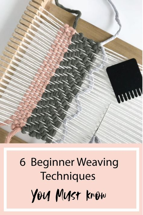Learn the 6 beginner weaving techniques you must know. Macrame Wall Hanging Patterns, Weaving Wall Hanging, Weaving Loom Diy, Hand Weaving, Loom Weaving Projects, Weaving Textiles, Weaving Patterns, Stitch Patterns, Knitting Patterns