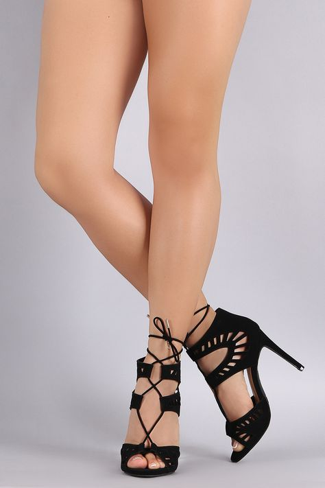 Description This trendy lace up front design, wrapped stiletto heel, and lightly padded insole for comfort.Material: Nubuck (man-made)Sole: Rubber Measurement Heel Height: (approx)