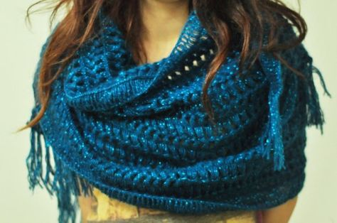 Dark Turquoise Mohair Sparks Scarf by looplabs on Etsy