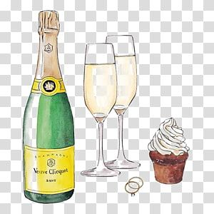 Green Liquor Bottle And Two Champagne Glasses Illustration Champagne Glass White Wine Cocktail Glasses Illustration Champagne Glasses Sparkling Wine Cocktails