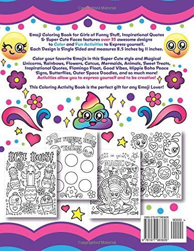 Emoji Coloring Book For Girls Of Funny Stuff Inspirational Quotes Book Girl Coloring Books Super Cute Animals