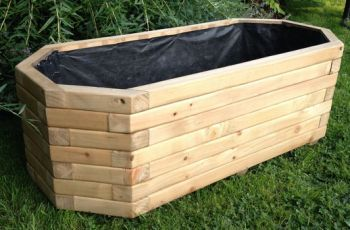 110cm Wooden Pine Octagonal Trough Planter Trough Planters