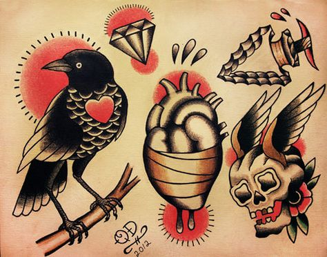 Tatto Ideas 2017 – Traditional Tattoo Designs Tatto Ideas & Trends 2017 - DISCOVER Conceptions de tatouage traditionnel par ParlorTattooPrints sur Etsy Discovred by : Alex