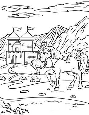 Ausmalbild Einhorn Vor Dem Schloss Zum Kostenlosen Ausdrucken Und Ausmalen Fur Kinder Ausmalbilder Mal Einhorn Zum Ausmalen Ausmalbilder Einhorn Ausmalen