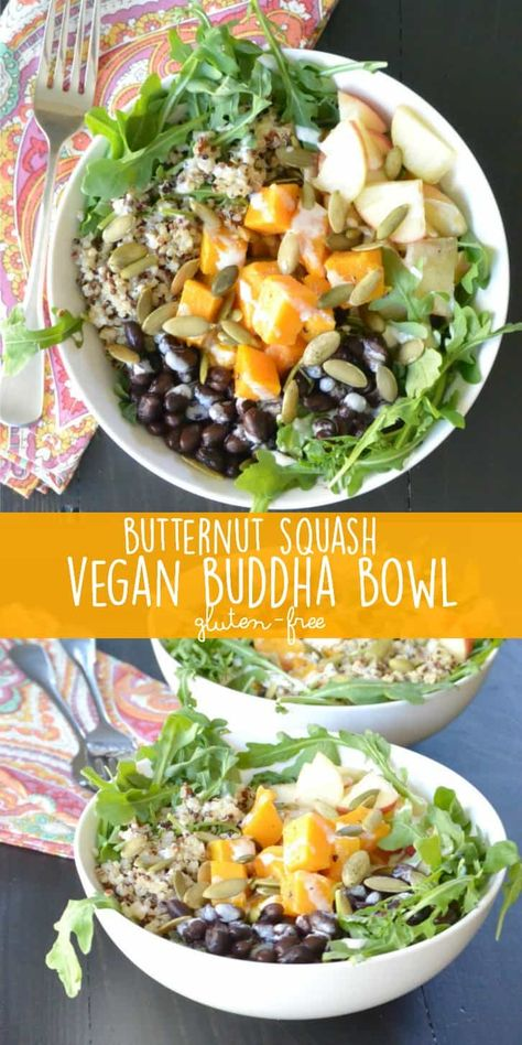 Butternut Squash Vegan Buddha Bowl combines arugula, quinoa, black beans, apple, pumpkin seeds, and tahini lime dressing. It's naturally gluten-free with an oil-free option. And the components can be prepared in advance so you'll have a delicious complete meal in minutes! #butternutsquashveganbuddhabowl #buddhabowl #butternutsquash #quinoa #grainbowl #vegan #vegetarian #glutenfree #mealprep #veggiessavetheday