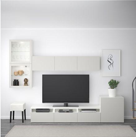Ikea Tv Kast Grijs.Besta Tv Opbergcombi Vitrinedeuren Wit Lappviken Lichtgrijs