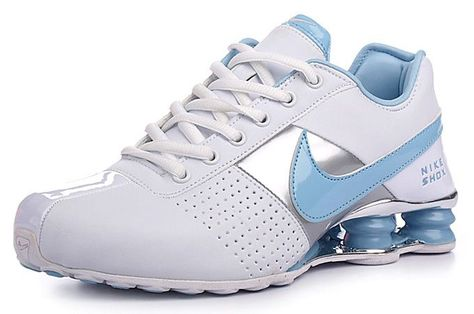 56144bc3d72d Women s Nike Shox Baby Blue and White.