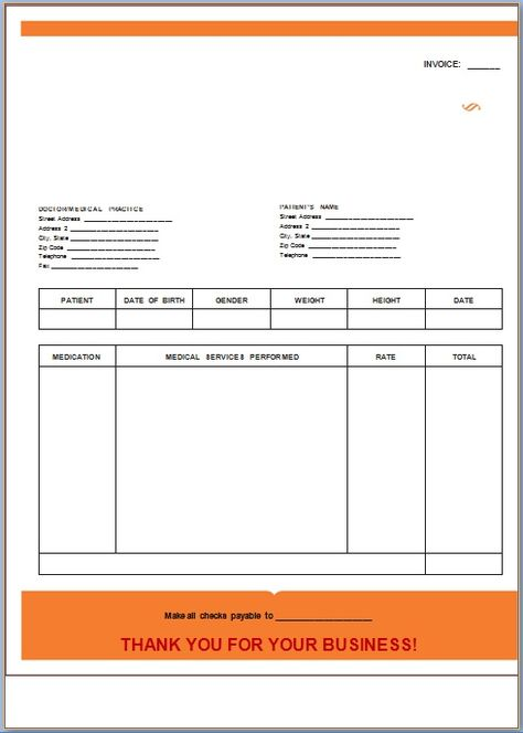Healthcare Invoice Template  Medical Invoice Template