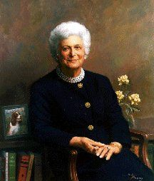 Official White House Portrait of Barbara Pierce Bush (by Herbert E. Abrams of Warren, Connecticut) ~ the 41st First Lady of the United States, wife of George Herbert Walker Bush (1989 - 1993). Barbara Bush was the 1st First Lady to write a memoir from her dog's perspective.