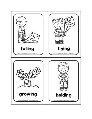 Ing Verb Spring Picture Word B W Flash Cards Flashcards Ing Words Shop Teacher