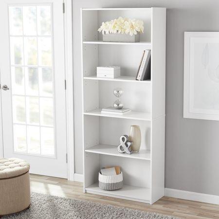 Bookcase Wide 5 Shelf Set of 2 Pcs Adjustable Wood Bookshelf Storage White