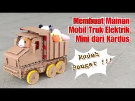 Mudah Banget Cara Membuat Mainan Mobil Truk Mini Dari Kardus Prakarya Dari Kardus Youtube Kardus Mainan Miniatur
