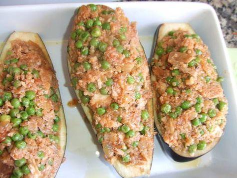 Berenjenas rellenas de quinoa y pollo Receta de Cuqui - Cookpad
