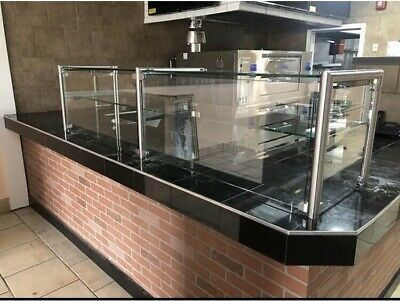 108 9 Ft Pizza Display Case Glass Sneeze Guard All Stainless Steel W Shelf Ebay Pizza Display Case Pizza Display Sushi Display Case