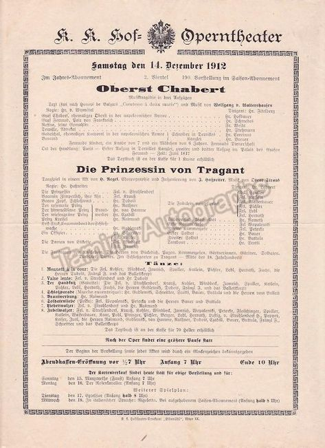 Imperial Royal Court Opera Vienna 8 Playbill Lot 1910 1912 In 2021 Royal Court Playbill Opera