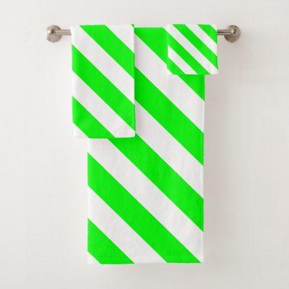 Green And White Diagonal Stripes Bath Towel Set White Gifts