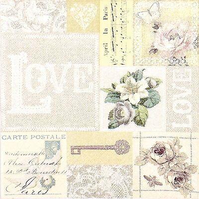 4x Paper Napkins for Decoupage Decopatch Craft Vintage Love
