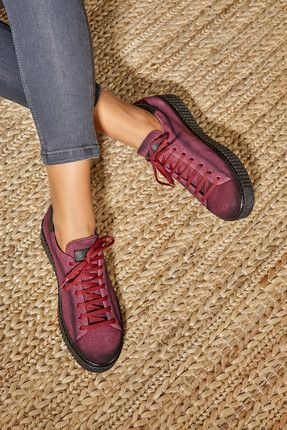 Bordo Suet Bagcikli Kadin Sneaker Ayakkabilar Sneaker Kadin