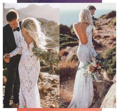 See Through V Neck Lace Rustic Wedding Dresses Long Sleeve Mermaid Wedding Dress RS812 #dress #Dresses #Lace #long #Mermaid #Neck #RS812 #Rustic #Sleeve #Wedding