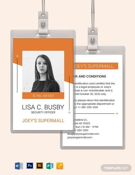 Security Officer Id Card Template In 2020 Id Card Template Identity Card Design Card Template