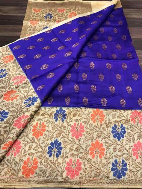 c12ae2a1e2 🏵🏵EXCLUSIVE NAVARATRI SAREE🏵🏵 Pure handloom Banaras chinya silk (soft  pattu) saree Ready to dispatch Saree price 5800 Order what's app 7995736811  Hurry ...
