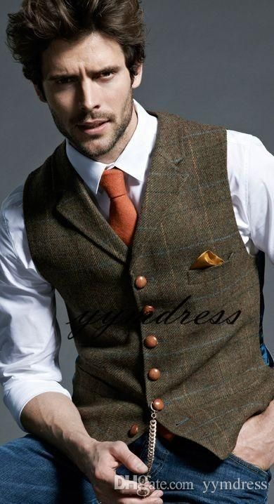 2019 Men's Wool Plaid Groom Vests Groom's Suit Vest Tweed Business Suit Jacket Formal Groom's Wear Suit Vest Men's Wedding Tuxedo Waistcoat