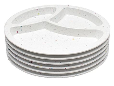 Melamine Divided Plates Zak Designs Confetti Plate Set Of 6 Durable And Bpa Free 8 White