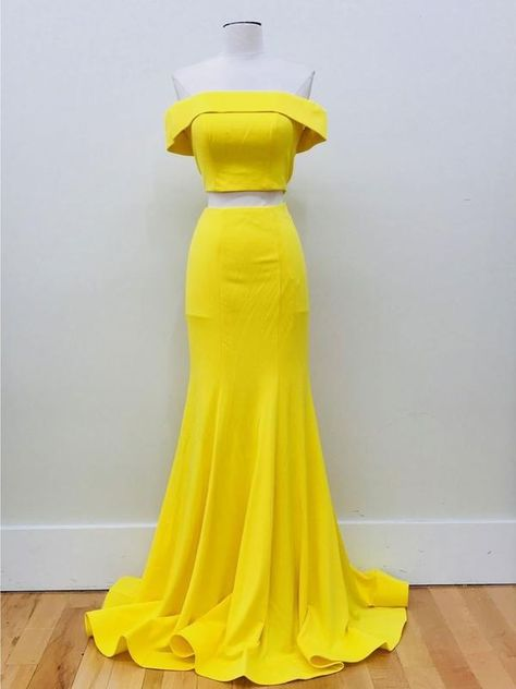 2b3a70ce3608 Long Mermaid Two Piece Prom Dresses Daffodil Yellow Off Shoulder ...