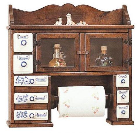Cassettiera da cucina in legno massello colore noce arte ...