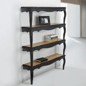Pretty cool ~ two coffee tables cut in half to make book shelves!