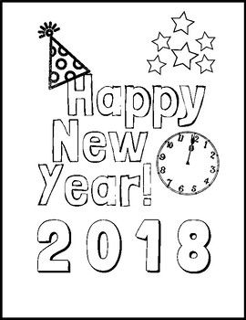 Easy And Festive New Years Themed Coloring Page New Year Coloring Pages New Year S Eve Colors New Year Printables